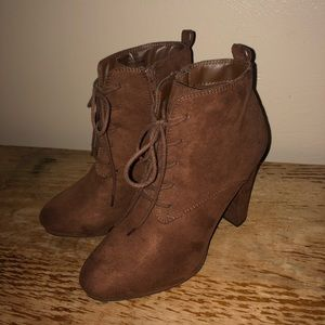 Faux Suede Brown Ankle Boots Size 7
